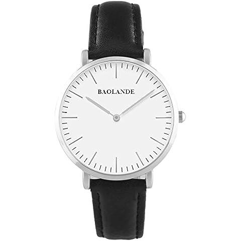 Alienwork Classic St.Mawes Reloj cuarzo elegante cuarzo moda diseño atemporal clásico Piel de vaca plata negro