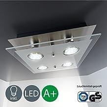 Lámpara de techo LED (GU10, 4x3W, 4x 250lúmenes, color níquel mate, níquel mate, cuadrado, GU10
