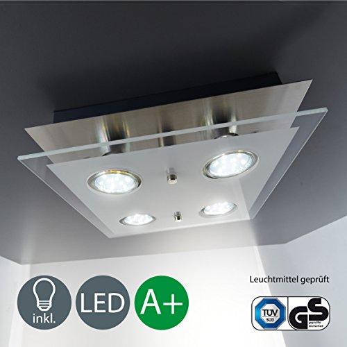 Lampe LED de Plafond/plafond Ampoule/Lampe de Salon//GU10/4x/4x 3W 250lumen/verre partiellement satinée/Carré/Nickel mat[Classe...