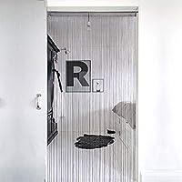 Lewondr Door String Curtain, Silver Thread Fringe Window Blinds Panel Room Divider Doorways Dense Strings Strip Tassel Ribbon for Room Closet Wedding 100x200cm - Gray