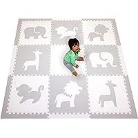 SoftTiles Foam Play Mat Safari Animals Premium Interlocking Foam Large Children's and Baby Playmat 6.5 x 6.5 ft. (Light Gray, White) SCSAFWH