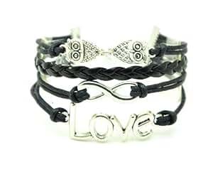 Bracelet Karma Mixte - Love/Infini/Hibou - Cordon/Cuir - Noir
