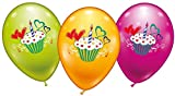 DeCoArt... Set Preis 6 Luftballons Cupcake Farbig Bunt ca 28 cm Ballongas Geeignet und 10 Ballonverschlüsse