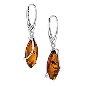 Copal Damen Ohrringe Bernstein Echt Silber Natur Braun Tropfen Geschenkverpackung Geschenkideen für Frauen