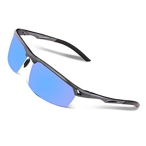 Duco Herren Sport Stil Polarisierte Sonnenbrille Metallrahmen Brille 8550, Gunmetal/Blau Verspiegelt