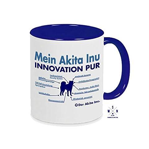Tasse Kaffeebecher AKITA INU INNOVATION Teileliste Hund Hunde fun Siviwonder blau (Akita Inu Hund)