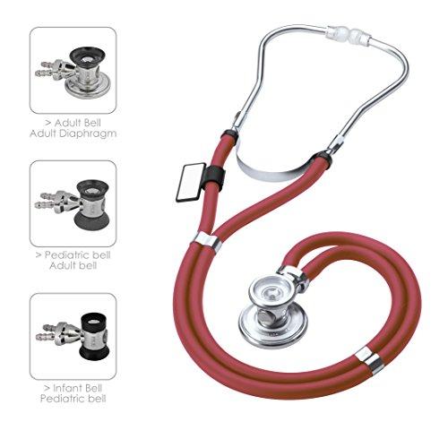 MDF® Sprague Rappaport Zweikopf-Stethoskop mit austauschbarem Bruststück für Erwachsene, Kinderärzte und Säuglinge - Weinrot (Riesen Uniform)