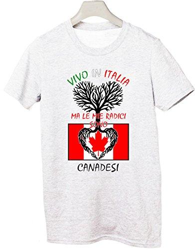 Tshirt Vivo in Italia ma le mie radici sono canadesi - Italy - Canada - humor - idea regalo - in cotone Bianco