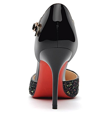 KHSKX-Nouvelle Amende Talons Et Talons Hauts Miroir Pointu Et Faible À Talons Avec Les Chaussures Les Chaussures De Unique 35 black