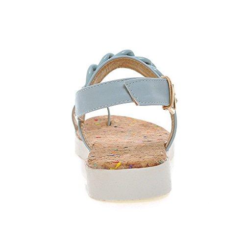 AgooLar Femme Couleur Unie Pu Cuir à Talon Bas Boucle Ouverture D'Orteil Sandales Bleu
