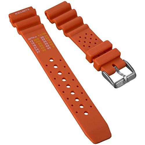 Bracelet de Montre ZULUDIVER® en Caoutchouc, Qualité et Résistance, Plongeur Professionnel, Sport et Loisir, Orange, 22mm