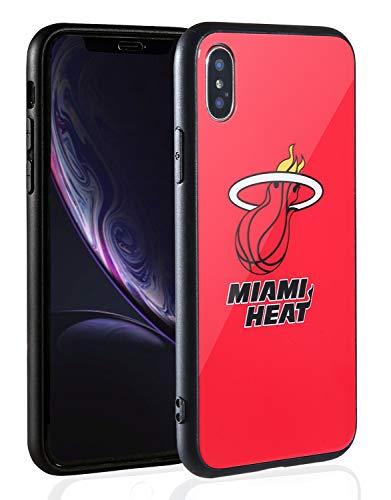 Sportula NBA Handyhülle - 9H gehärtetes Glas Backcover Silikon Gummi Bumper Rahmen kompatibel Apple iPhone X/iPhone XS, Miami Heat Miami Heat Cellular Phone Case