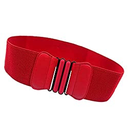 Imported Fashion Womens Ladies Faux Leather Wide Elastic Buckle waist belt Hot Red