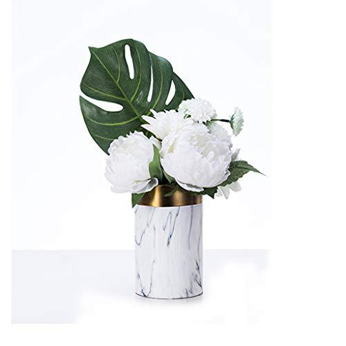 Vases LXF Décoration Salon Arrangement De Fleurs en Céramique en Marbre Moderne Européen Table De Salle À Manger Décorations Douces (Envoyer des Fleurs Artificielles) (Size : A)