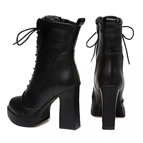 Gaorui Damen Plateau Stifeletten High Heel Ankle Boot Blockabsatz Schnür Schwarz aus Soft Leder Schwarz