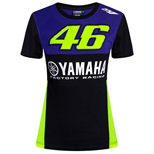 VR46 Damen-T-Shirt, Damen, Mädchen, Yamaha Factory Racing, blau, Womens (M) 86cm/34 Inch Chest ()