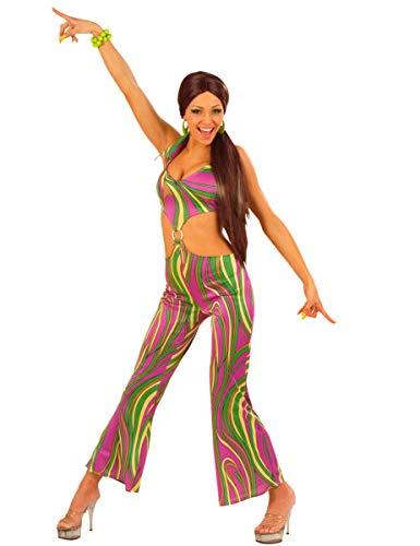 WIDMANN 70er Jahre Fever Jumpsuit 4Cols Kostüm groß für 1970er Jahre Disco Hippie Hippie Kostüm (1970er Jahre Kostüm)
