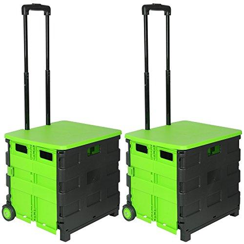 WOLTU EW4802gn 2er Einkaufswagen 64L Einkaufstrolley Einkaufsroller Shopping Trolley klappbar bis 35kg mit Deckel Schwarz-Grün