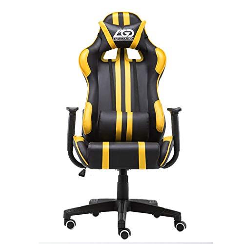 Gaming Bürostuhl E-Sport Drehbarer Schreibtisch Mesh Hoher Rücken Ergonomisch Internet Cafe Liegender Aufzug Leder Lumbale Massage Deluxe Computer Stuhl, Yellow