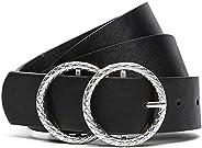 Earnda Women's Fashion Belts Silver Double Buckle Black PU Leather S