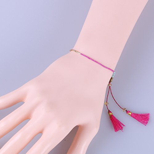 KELITCH Handmade Armband Kristall Perlen Schnur Freundschaftsarmbänder mit farbig Quaste Anhänger - #25