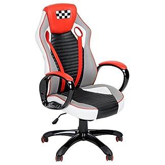Fanilife Racing silla estilo de juego de alta trasero de cuero PU silla giratoria de oficina ajustable silla de trabajo rojo