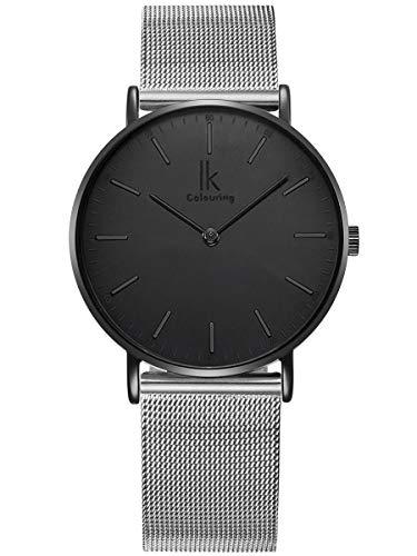 Alienwork IK Herren Damen Armbanduhr Quarz schwarz mit Metall Mesh Armband Edelstahl Silber Ultra-flach Slim-Uhr
