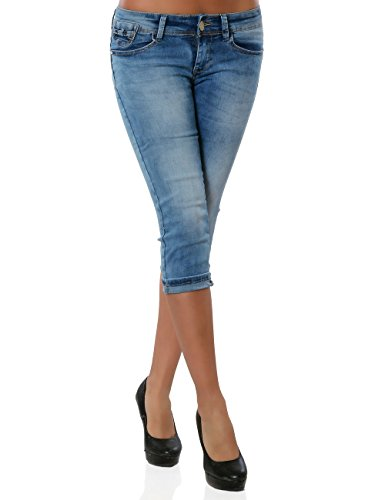 Damen Capri Jeanshose Kurze Sommerhose Push-Up Stretch DA 15547 Blau 38 / M