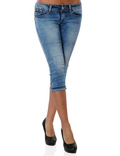 Damen Jeans Kurze Hose Bermuda Shorts Push Up Stretch No 15547 Blau 36 / S