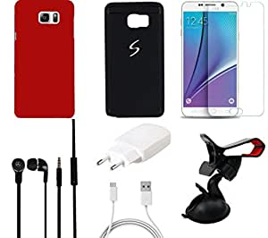 NIROSHA Tempered Glass Screen Guard Cover Case Charger Headphone Mobile Holder for Samsung Galaxy Note 5 - Combo