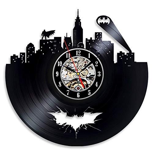 ZhangXF 12-Zoll-Wanduhr Vintage Vinyl Uhr Batman Theme Ungewöhnliches Geschenk