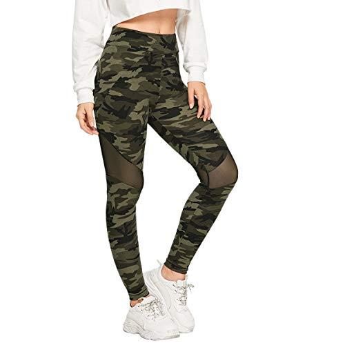 SOLY HUX Damen Sport Camouflage Leggings Mesh Camo Leggins Bunt Sporthose Capris Jogger Fitnesshose Sweathose Farbe #1 L