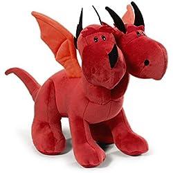 NICI 39811–Dragón Doble Cabezal de Peluche, Color Rojo