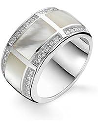 Ti Sento Ring aus rhodiniertem Sterling Silber, mit Cubic Zirkonia und Perlmuttsteinen-1346mw
