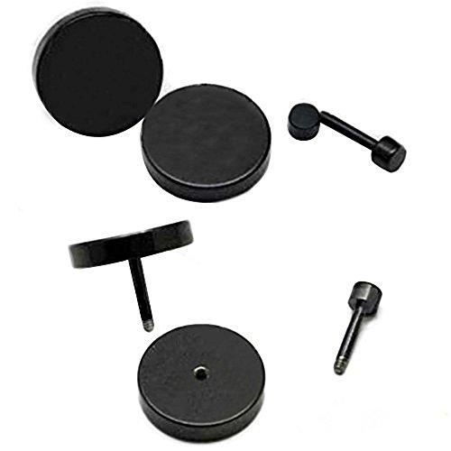 ILOVEDIY 1 Paar Edelstahl Ohrstecker allergiefrei schwarze Ohrringe für Männer und Frauen Durchmesser 8mm