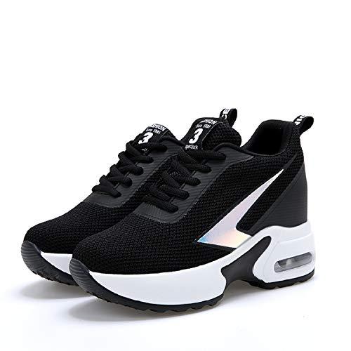 AONEGOLD Sneakers con Zeppa Interna Donna Scarpe da Ginnastica Sportive Casuale Tacco 8 cm(Nero,38 EU)