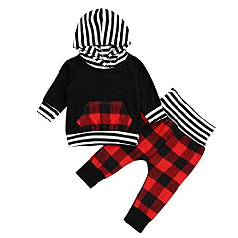 vêtements de garçon, SHOBDW 2pcs Toddler Infant Baby Boy Striped Plaid Hoodie Tops + Pants Ensembles de vêtements Outfits (Taille: 6 mois, Noir)