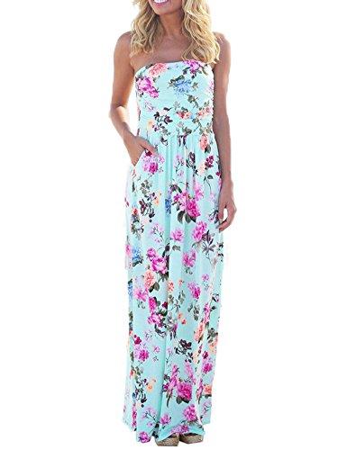 0a04bd5df06c56 Sommerkleid Damen Partykleid Lang High Waist Schulterfrei Damen Kleider  Sleeveless Beach Kleid Elegant, XL, Hellblau 2