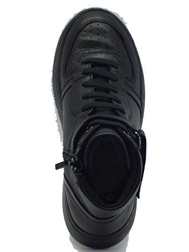 Sneakers per donna Geox in pelle nera con lacci e lampo Black