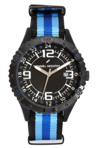 Daniel Hechter DHH 3AA - 002/Men's Watch Analogue Quartz Black Dial Black Nylon Strap