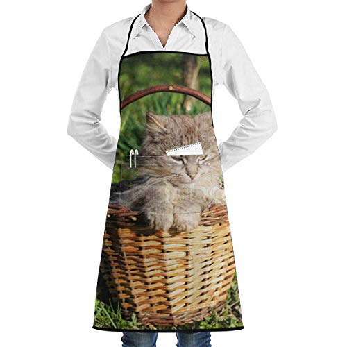 ck,Funny CAT Bib Apron Chef Apron - with Pockets for Men and Women Prossional Gardening Gifts ()