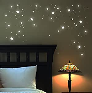 leuchtsterne wandtattoo sterne 100 stk fluoreszierend leuchtende sterne sternenhimmel. Black Bedroom Furniture Sets. Home Design Ideas