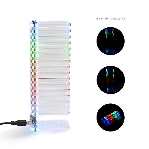 DROK Finished KS16 Fantasy Crystal Cube LED Music Spectrum Kit Level Display, Extremely Accurate Sound Spectrum Meter VU Tower for Audio System Vacuum Tube Amplifier DIY