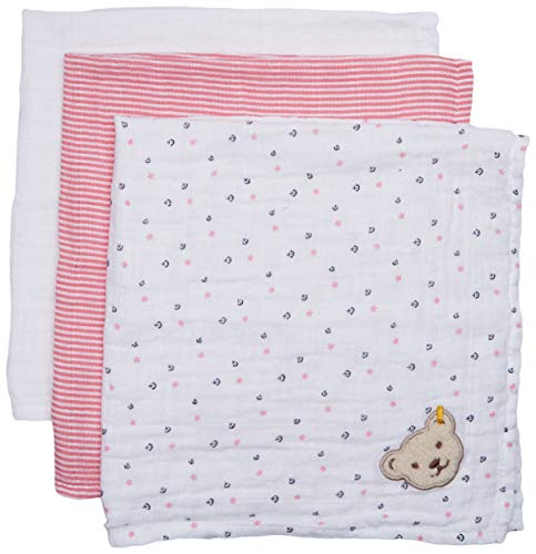 Steiff Baby-Mädchen Halstuch Mullwindel 3er Pack, Rosa (Morning Glory 7013), One Size