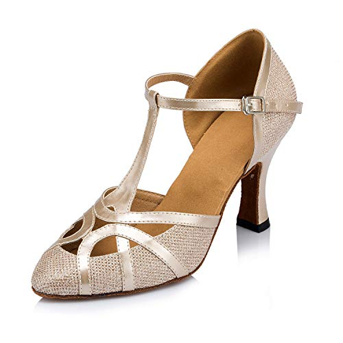 Meijili Damen High Heel Schuhe Salsa Tango Modernes Ballrom Latein Tanzschuhe, Gr.-39 EU/ 5.5 UK, Champagne mesh