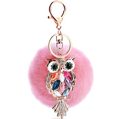 Pom Pom Keychain Weiße (Hangnuo 8cm Faux Pelz-Kugel mit Eule Pom Pom Keychain Charme für Frauen-Beutel-Auto-Schlüsselring)