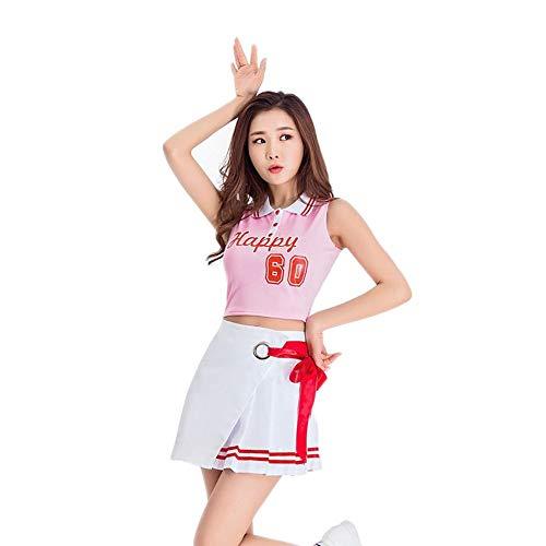 MCO%SISTSR Cheerleader-Kostüm,Mädchen Team Uniform Set Fußball Mini Rock High School Musik Bekleidung Sportwettbewerb Dance Performance,8556,L (Dance Team Performance Kostüm)