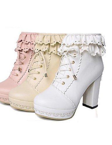 ShangYi Mode Frauen Schuhe Damen Schuhe Herbst/Winter Combat Boots Leder Büro & Karriere / Kleid Ferse Lace-up Walking Mandel