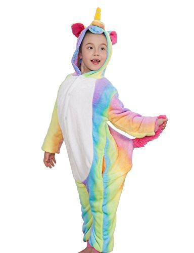 Kinder Pyjamas Tier Einhorn Jumpsuit Nachtwäsche Unisex Cosplay Kostüm für Mädchen und Jungen (115/Größe:125-135cm, Regenbogen) (Erwachsenen Strampelanzug Tragen)