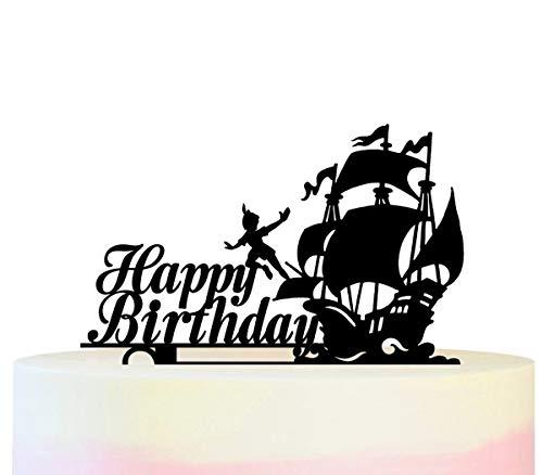 Innovedesire Happy Birthday Peter Pan Ship Kuchenaufsätze Hochzeit Geburtsta Acryl Dekor Cupcake Kuchen Topper Stand für Kuchen Party Dekoration 11 Stück